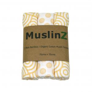 Muslinz Bamboo Organic Cotton 3pk