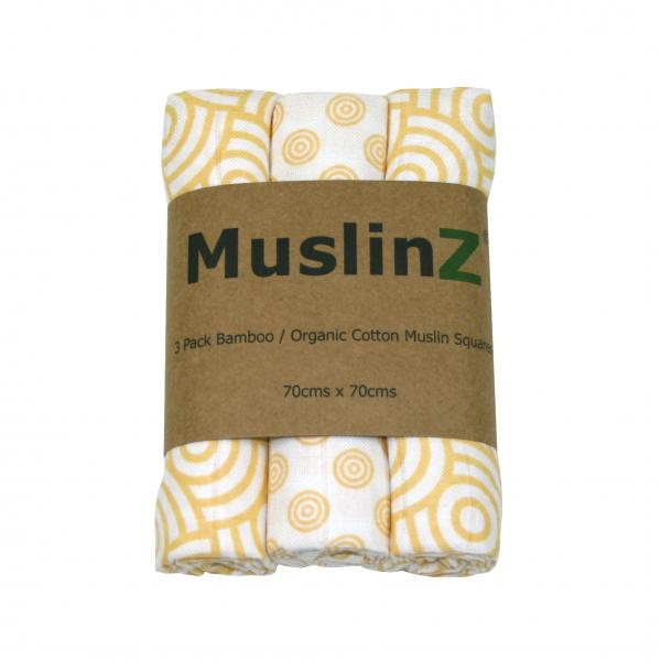 Gold Ring 3 pack Muslinz bamboo & organic cotton