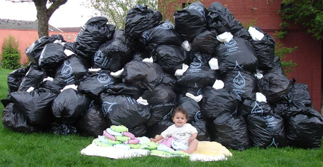 Disposable nappy mountain