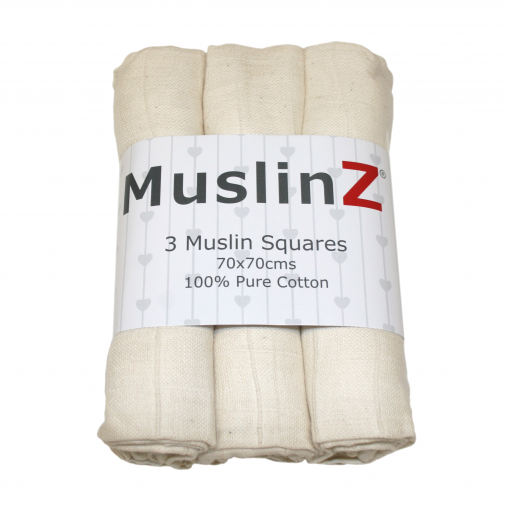 natural 3 pack 100% organic cotton muslins